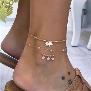 Gold elephant beaded anklet